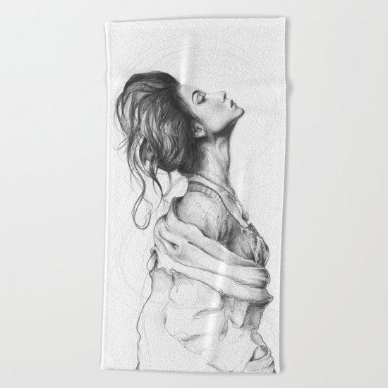Pretty Lady Illustration Woman Portrait Beauty Beach Towel