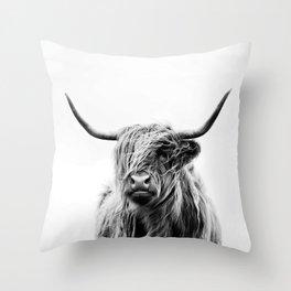 Black & White HQ Highland Scotland Cow Portrait Throw Pillow