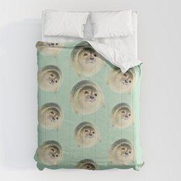 aqua green underwater cute baby sea lion seal Comforters