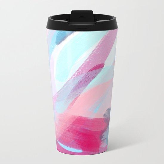 Pastel Abstract Brushstrokes Metal Travel Mug