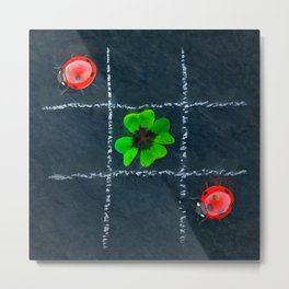 Clover and ladybugs tic-tac-toe pattern Metal Print