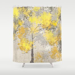 Abstract Yellow and Gray Trees Shower Curtain