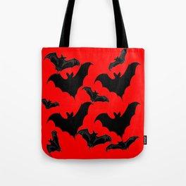 HALLOWEEN BATS ON BLOOD RED DESIGN Tote Bag