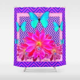 Fuchsia Orchid Flowers Turquoise Butterfly Patterns Shower Curtain