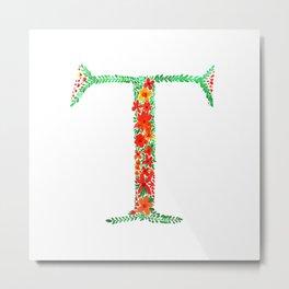 Floral Monogram Letter T Metal Print