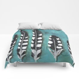 Blue black and white feathers woodpecker Comforters