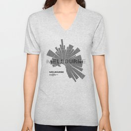 Melbourne Map Unisex V-Neck