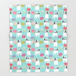 French Bulldog cute mint pastel cute donuts sweet treat doughnuts junk food dessert foods and dogs Throw Blanket