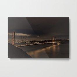 Golden Gate Bridge, SF Long Exposure at Night Metal Print