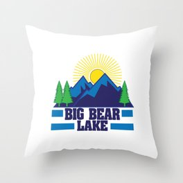 "California Bear A Symbol Of This Beautiful State ""Big Bear Lake"" T-shirt Design Mountains Sun Trees Throw Pillow"