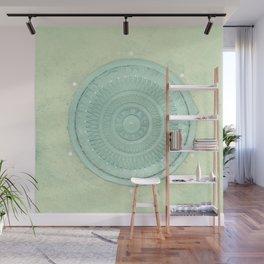 key lime polka dot coal hole cover (london) Wall Mural