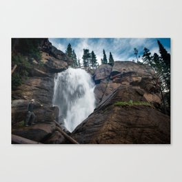 Waterfalls In The Rocky Mountain Canvas Print