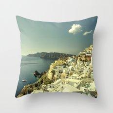 Santorini Seascape Throw Pillow