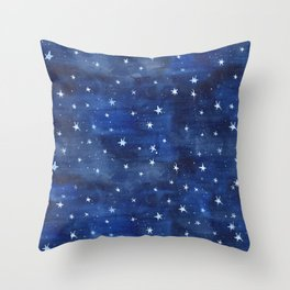 Midnight Stars Night Watercolor Painting by Robayre Throw Pillow