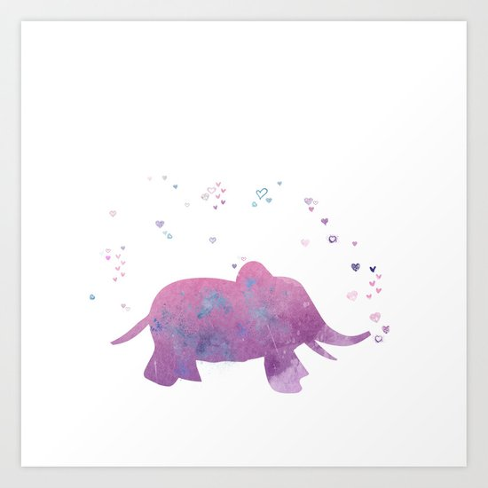 Love is in the air - Elephant animal watercolor illustration Art Print