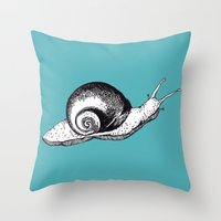 snail Throw Pillows featuring Snail by Aubree Eisenwinter