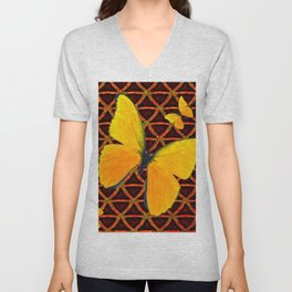 YELLOW BUTTERFLIES BROWN ART Unisex V-Neck
