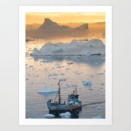Sunset Fishing in Icebergs Art Print