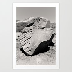 Dynamite Rock Quarry Boulder Oregon Landscape Sepia Geology Geomtric Rock Art Print