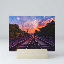 Antiquity railway at the sky of dawn Mini Art Print