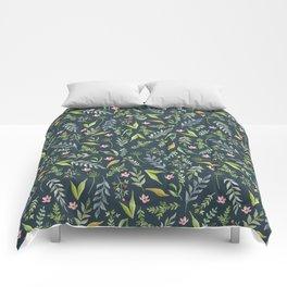 Floral blue pattern. Watercolor Comforters
