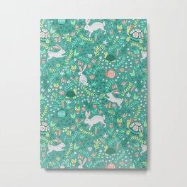 Spring Pattern of Bunnies with Turtles Metal Print