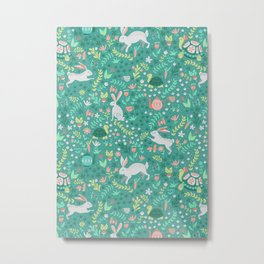 Spring Pattern of Bunnies with Turtles Metal Print
