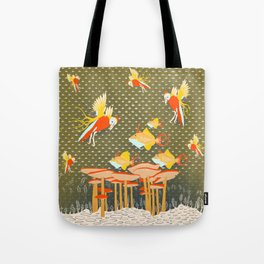 Birds over fishes over mushrooms ...who will win ? Tote Bag