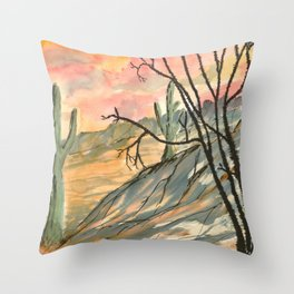 Southwestern Art Desert Painting Throw Pillow