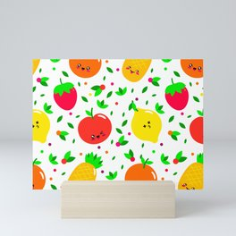 Cute & Whimsical Fruit Pattern with Kawaii Faces Mini Art Print