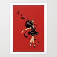 black swan Art Prints featuring Black Swan by Enkel Dika