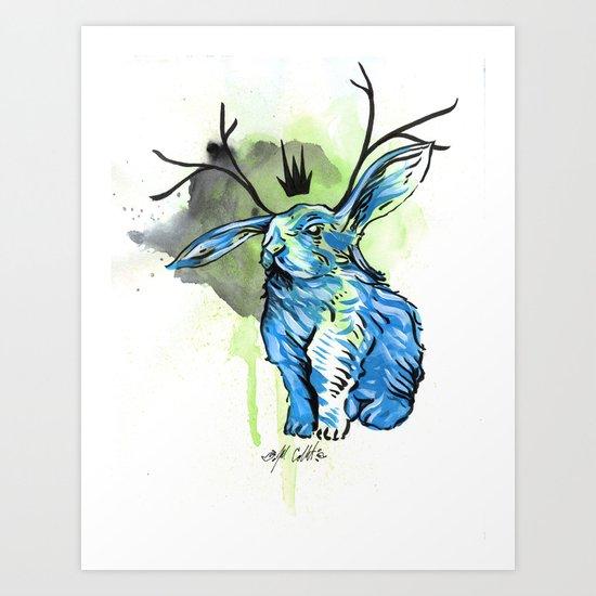 Blue Jackalope Art Print