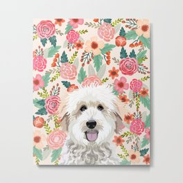 Golden Doodle florals pet portrait art print and dog gifts Metal Print