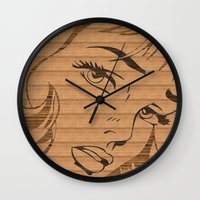 lichtenstein Wall Clocks featuring RoyL GIRL in wood, (Roy Lichtenstein.) by elekat