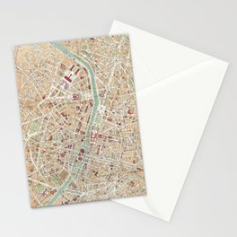 Vintage Map of Paris (1892) Stationery Cards