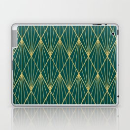 Gold peacock rhombus geometric pattern Laptop & iPad Skin