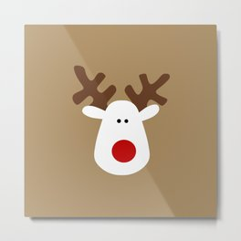 Christmas Reindeer-Brown Metal Print