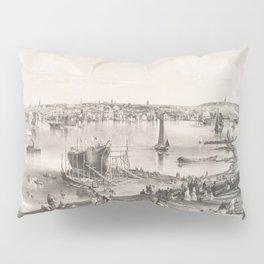 Vintage Pictorial Map of Portland ME (1855) Pillow Sham