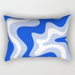 Retro Liquid Swirl Abstract Pattern Royal Blue, Light Blue, and White  Rectangular Pillow