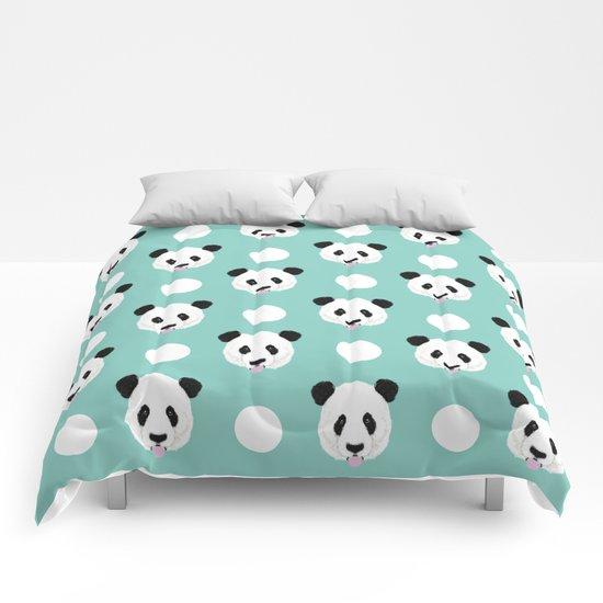 Panda polka dots pattern print minimal trendy kids design pillow cell phone cute panda cub character Comforters