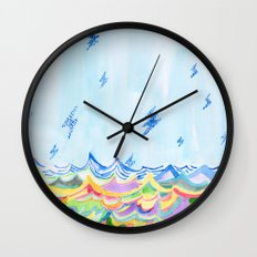 Lightning at Sea Wall Clock