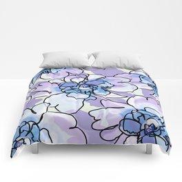 Blue Blush Peonies Comforters