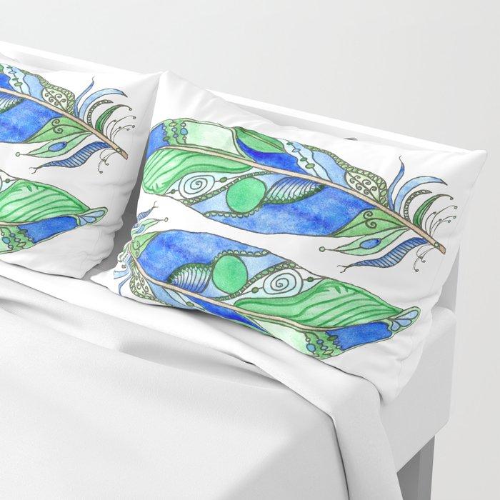 Bohemian Spirit Feathers - Blue & Green Pillow Sham