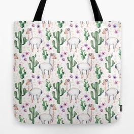 Llama Llamarama + Cactus Tote Bag