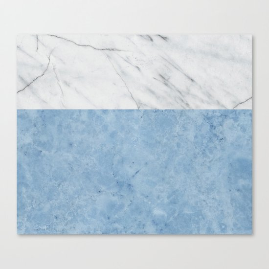 Porcelain blue and white marble Canvas Print