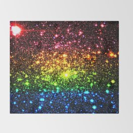 Rainbow Sparkle Galaxy Stars Throw Blanket