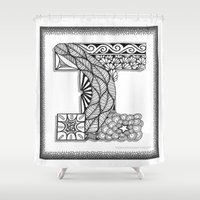 iggy Shower Curtains featuring Zentangle I Monogram Alphabet Illustration by Vermont Greetings
