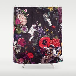 Flowers and Astronauts Shower Curtain