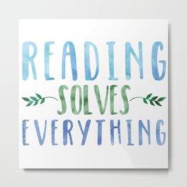 Reading Solves Everything (Green/Blue) Metal Print