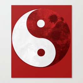 Red Yin Yang Symbol Canvas Print